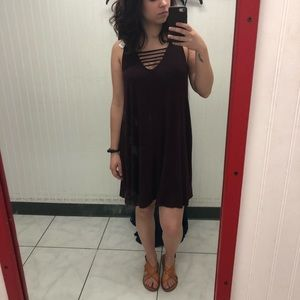 Strappy Burgundy Dress